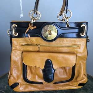 Balenciaga yellow/black leather bag